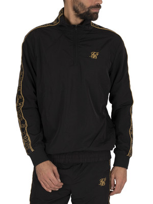 Sik Silk Quarter Zip Funnel Neck Track Top - Black/Gold
