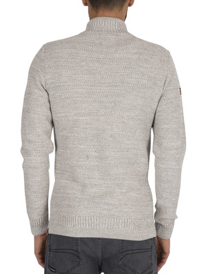 Superdry Keystone Henley zip Knit - Concrete Twist