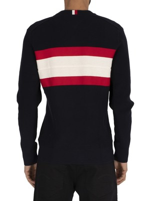 Tommy Hilfiger Ribbed Chest Stripe Sweatshirt - Desert Sky