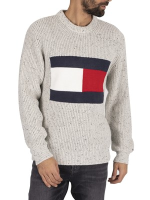 Tommy Jeans Flag Knit Sweatshirt - Pale Grey Heather