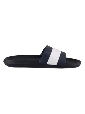 Lacoste Croco 120 3 US SMA Sliders - Navy/White