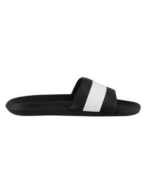Lacoste Croco 120 3 US SMA Sliders - Black/White