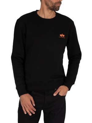 Alpha Industries Basic Logo Sweatshirt - Black/Neon Orange