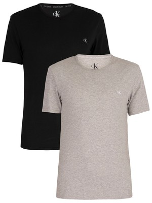 Calvin Klein CK One 2 Pack Crew T-Shirt - Black/Grey Heather