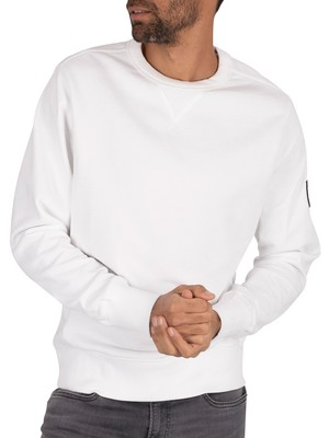 Calvin Klein Jeans Monogram Sleeve Badge Sweatshirt - Bright White