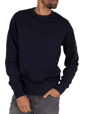 Calvin Klein Jeans Monogram Sleeve Badge Sweatshirt - Night Sky