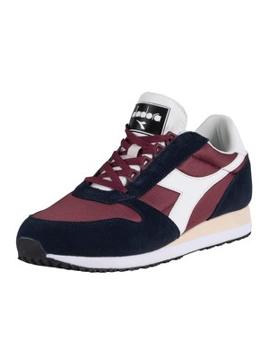 Diadora Caiman Suede Trainers - Blue Nights/Burgundy