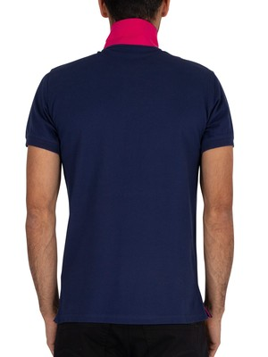 Gant Contrast Collar Pique Rugger Polo Shirt - Persian Blue