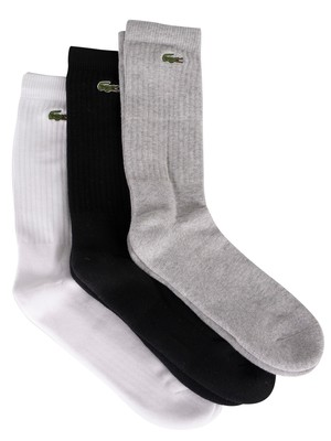 Lacoste 3 Pack Socks - Grey/White/Black