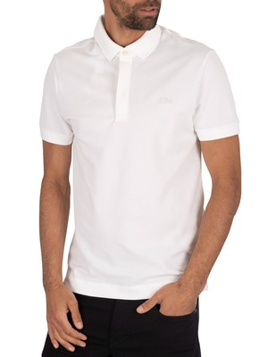 Lacoste Ribbed Collar Polo Shirt - White