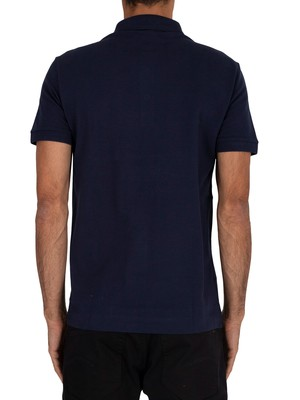 Lacoste Ribbed Collar Polo Shirt - Navy Blue