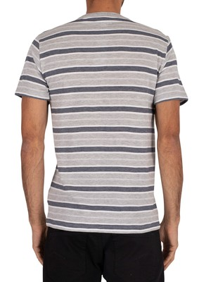 Lacoste Striped T-Shirt - Silver Chine/White Navy