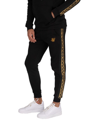 Sik Silk Muscle Fit Nylon Panel Joggers - Black/Gold