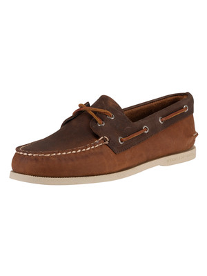 Sperry Top-Sider 2-Eye Boat Shoes - Dark Tan/Brown