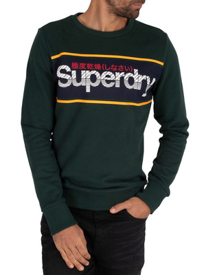 Superdry Core Logo Stripe Sweatshirt - Academy Green