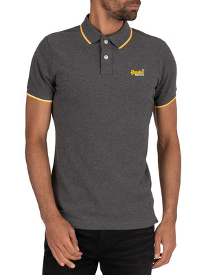 Superdry Poolside Pique Polo Shirt - Black/Grey Marl