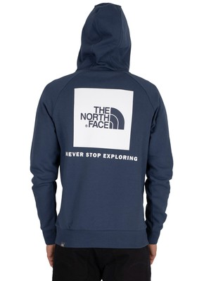 The North Face Raglan Red Box Pullover Hoodie - Blue Wing