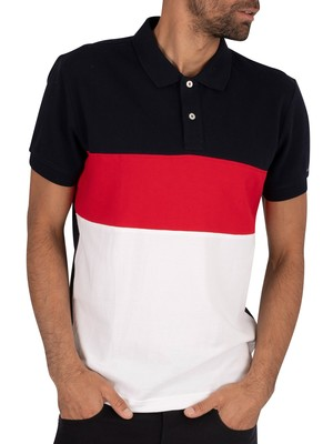 Tommy Hilfiger Colourblock Polo Shirt - Desert Sky/Primary Red