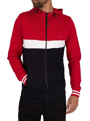 Tommy Hilfiger Colourblock Zip Hoodie - Primary Red