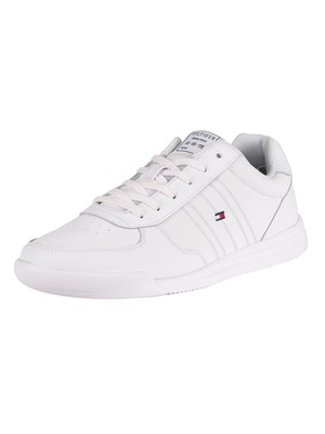 Tommy Hilfiger Lightweight Leather Flag Trainers - White