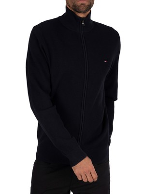 Tommy Hilfiger Structured Cotton Zip Knit - Desert Sky