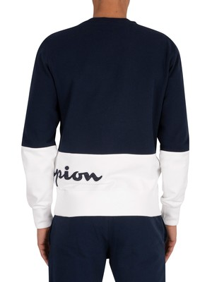 Champion Logo Sweatshirt - Navy/White