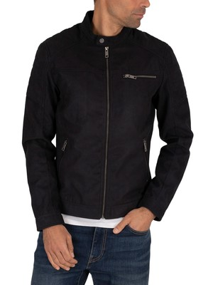 Jack & Jones Rocky Suede Jacket - Jet Black/Fake Suede