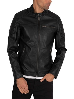 Jack & Jones Rocky Leather Jacket - Black