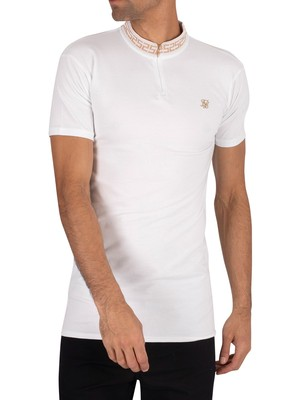Sik Silk Chain Rib Collar Polo Shirt - White