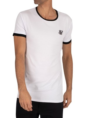 Sik Silk Inset Straight Hem Ringer Gym T-Shirt - White