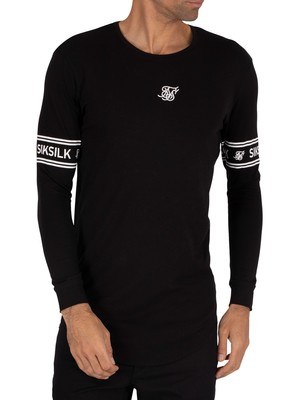 Sik Silk Longsleeved Branded Gym T-Shirt - Black