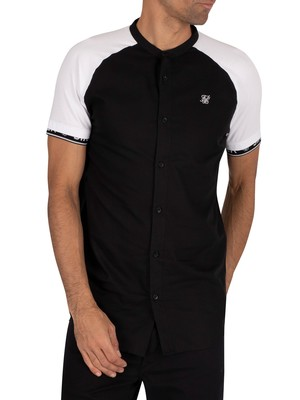 Sik Silk Oxford Raglan Tech Shortsleeved Shirt - Black/White