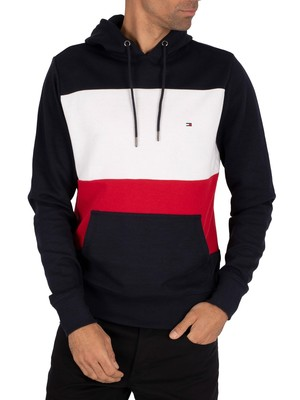 Tommy Hilfiger Colourblock Pullover Hoodie - Desert Sky/Primary Red