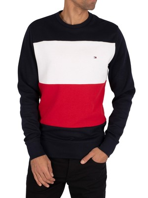 Tommy Hilfiger Colourblock Sweatshirt - Desert Sky/Primary Red