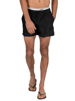 Calvin Klein Short Double Waistband Swim Shorts - Black