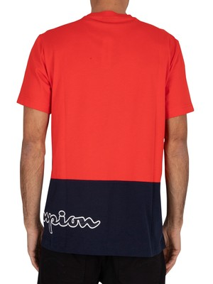 Champion Side Logo T-Shirt - Red/Navy