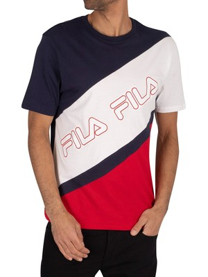 Fila Fabrizio Stripe Cut & Sew T-Shirt - White/Red/Peacoat
