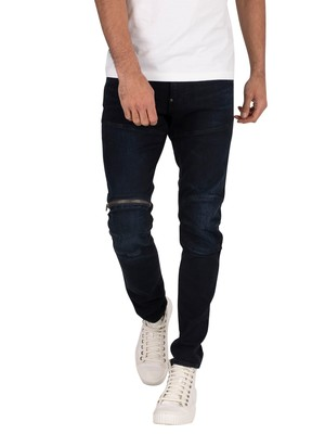 G-Star 562 3D Zip Knee Skinny Jeans - Worn In Blue Storm