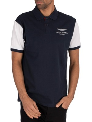 Hackett London AMR Contrast Polo Shirt - Navy/White