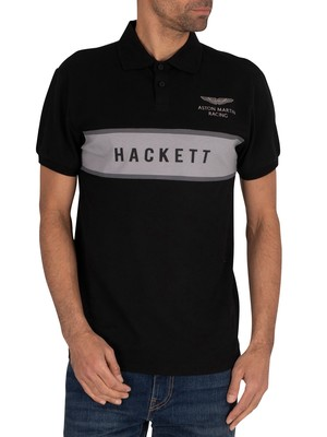 Hackett London Chest Panel Polo Shirt - Black/Silver