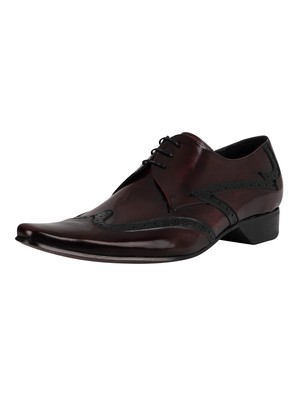 Jeffery West Derby Brogue Leather Shoes - Burgundy