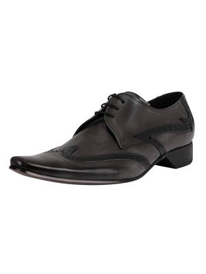 Jeffery West Derby Brogue Leather Shoes - Grey Polished