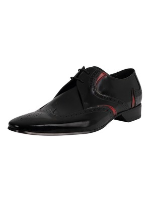 Jeffery West Derby Brogue Leather Shoes - Black Polished