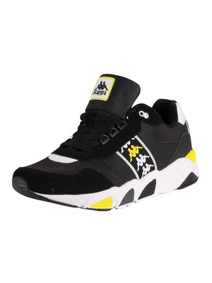 Kappa 222 Banda Venturi Leather Trainers - Black/White/Lime