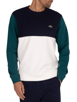 Lacoste Logo Sweatshirt - White/Navy/Green