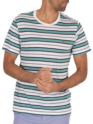 Lacoste Striped T-Shirt - White/Green