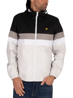 Lyle & Scott Contrast Panel Yoke Jacket - Jet Black/Glacier Grey
