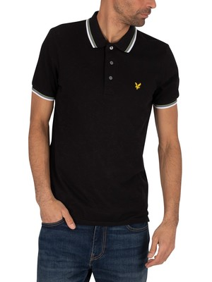 Lyle & Scott Tipped Polo Shirt - Jet Black/White