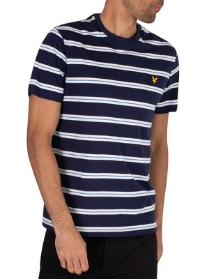Lyle & Scott Wide Double Stripe T-Shirt - Navy