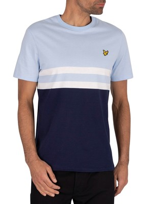 Lyle & Scott Yoke Stripe T-Shirt - Pool Blue/Navy